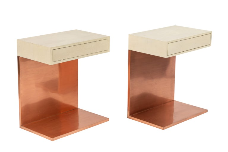 Pair of Modern Side Tables with Shagreen Tops and Copper Finish For Sale 5