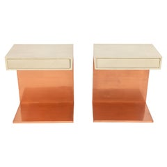 Pair of Modern Side Tables with Shagreen Tops and Copper Finish