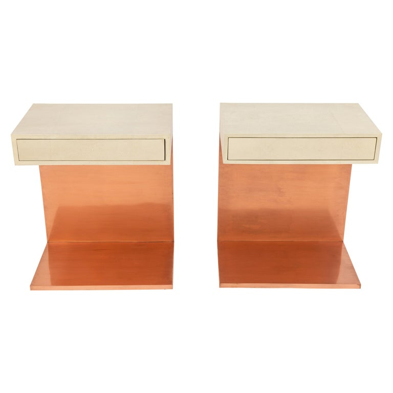 Pair of Modern Side Tables with Shagreen Tops and Copper Finish For Sale