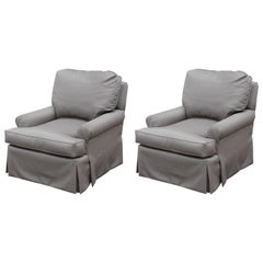 Pair of Modern Silver Grey Custom Rolled Arm Lounge Chairs COM