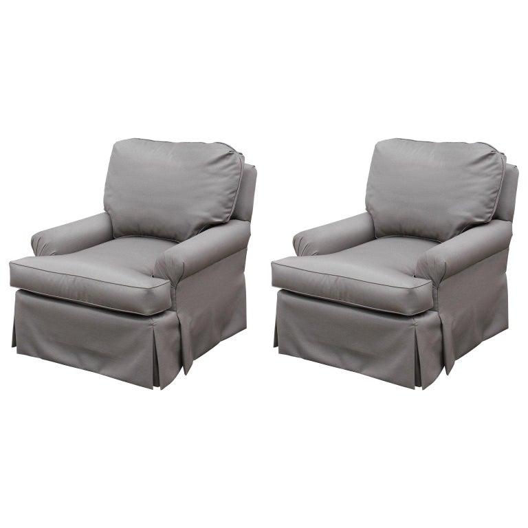 Cool Pair Of Modern Silver Grey Custom Rolled Arm Lounge Chairs Com Machost Co Dining Chair Design Ideas Machostcouk