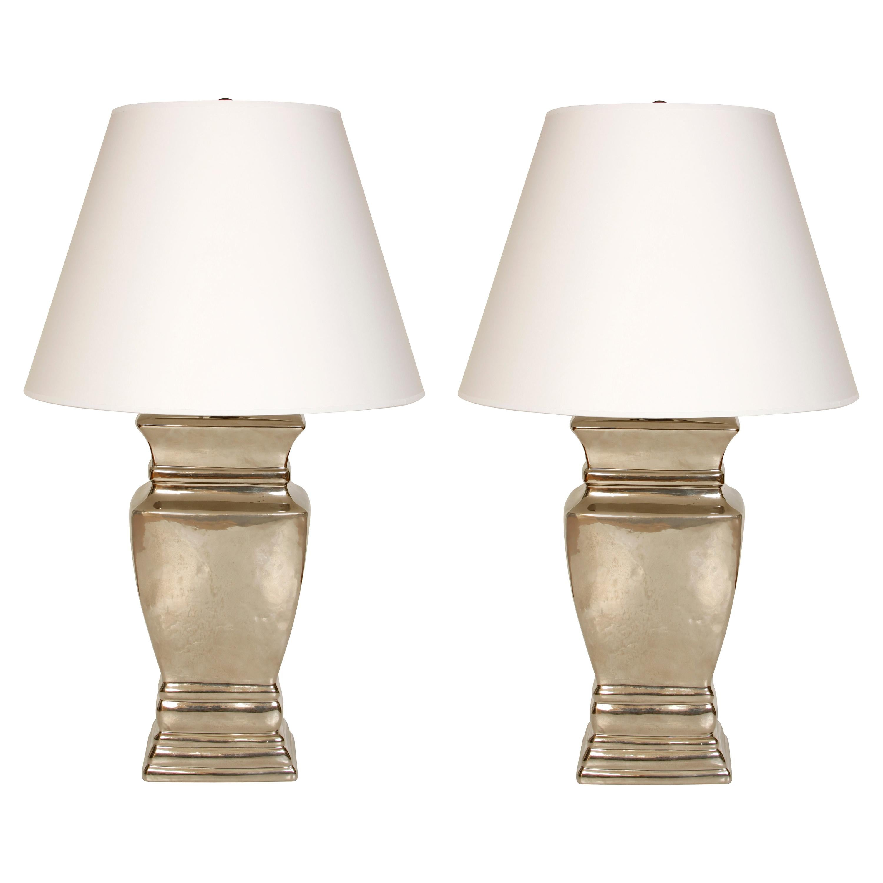 Pair of Modern Silvered Ceramic Lamps