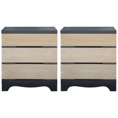 Pair of Modern Simple Three Drawer Two-Tone Bachelor's Chests or Nightstands