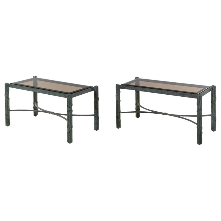 Pair of Modern Solid Patinated Bronze Smoky Glass-Top Low Tables/Benches For Sale