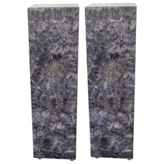 Pair of Modern Square Amethyst Pedestals