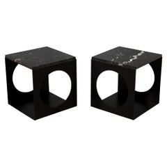 Pair of Modern Steel & Marble Side Tables in the Style of Minotti