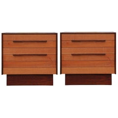 Pair of Modern Studio Made Two-Toned Solid Wood End Tables / Nightstands