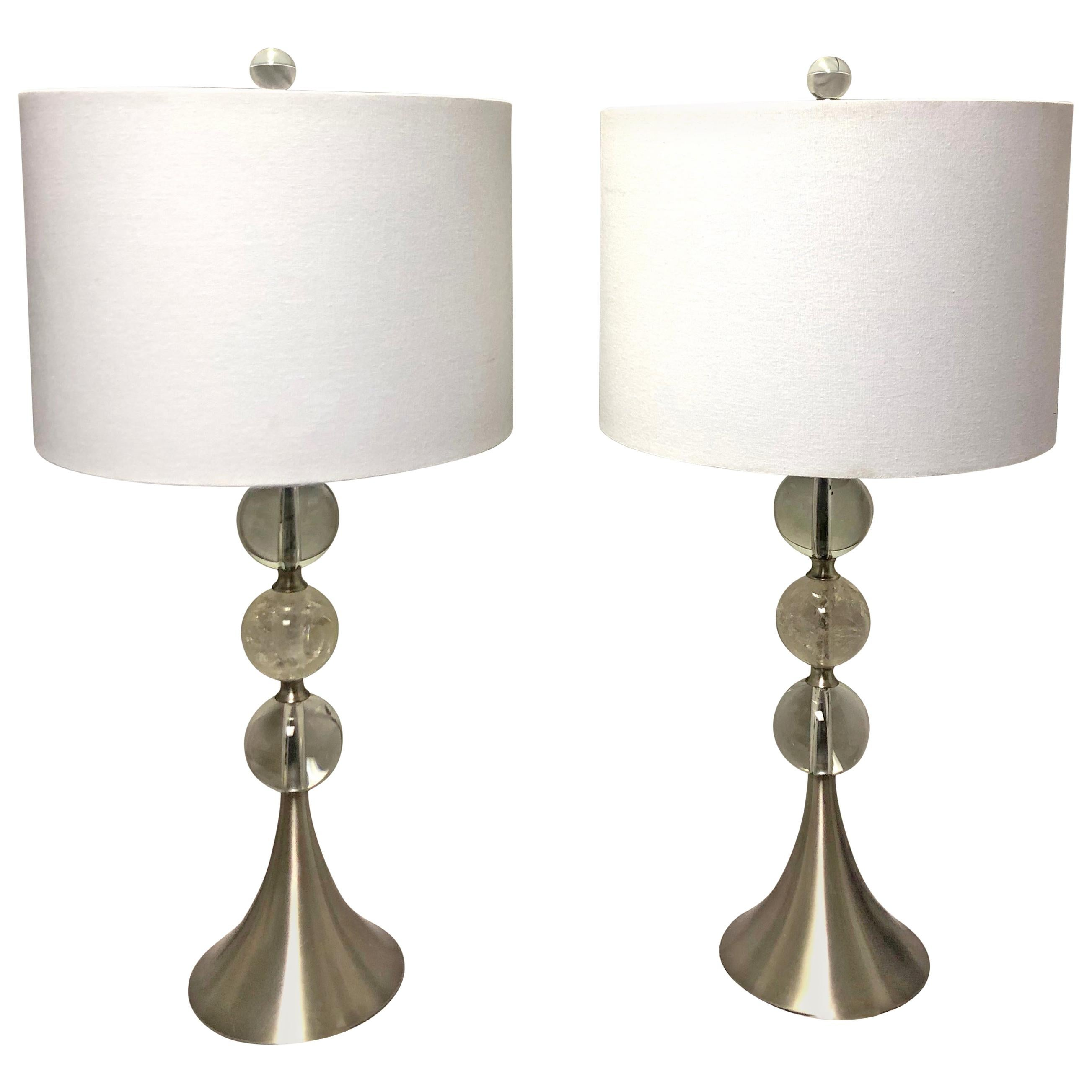 Pair of Modern Style Crystal and Rock Crystal Lamps