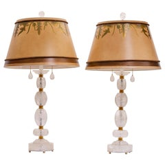 Pair of Modern Style Engraved Rock Crystal Table Lamps