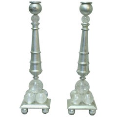 Pair of Modern Style Rock Crystal Bronze Candlesticks