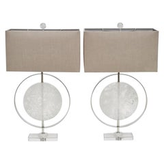 Pair of Modern Style Rock Crystal Disk Lamp