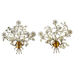 Pair of Modern Style Rock Crystal Floral Sconces