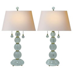 Pair of Modern Style Rock Crystal Fluted Sphere Lamps
