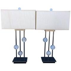 Pair of Modern Style Rock Sphere Crystal Lamps