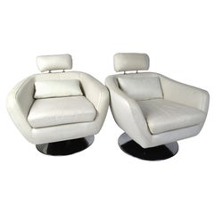Pair of Modern Style Swivel Lounge Chairs