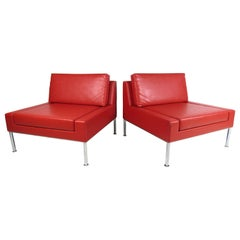 Pair of Modern Style Vinyl and Chrome Slipper Chairs