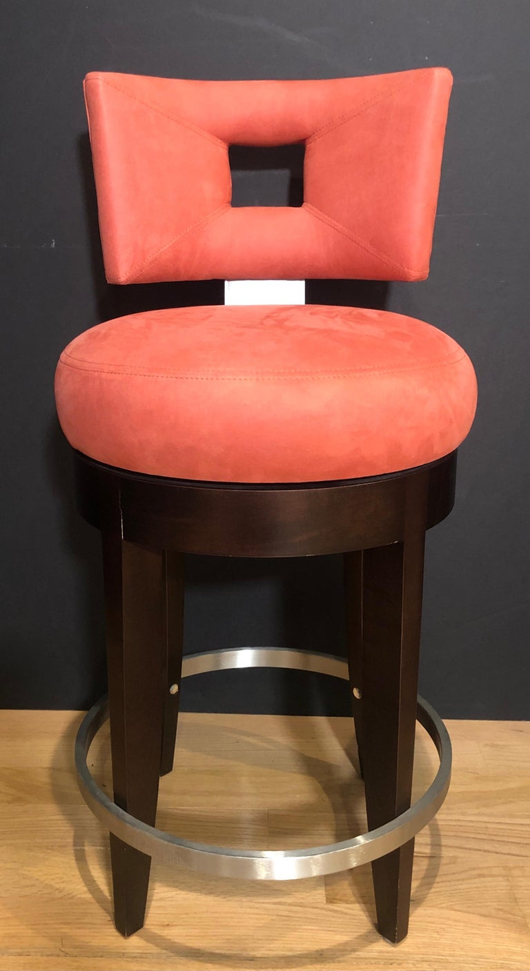 American Pair of Modern Swivel Bar Stools For Sale