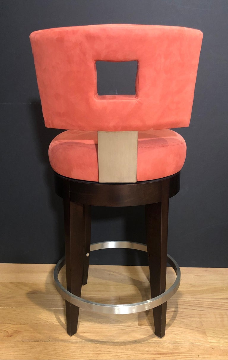 Pair of Modern Swivel Bar Stools In Excellent Condition For Sale In Norwood, NJ