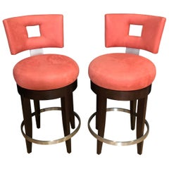 Pair of Modern Swivel Bar Stools