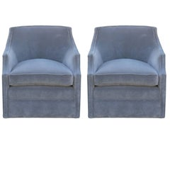 Pair of Modern Swivel Chairs in Grey Velvet in the Style of Baker Furniture