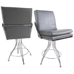 Pair of Modern Swivel Counter Stools