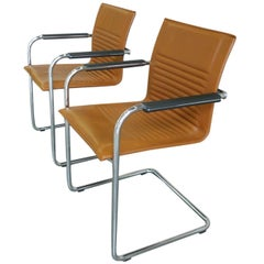 Pair of Modern Tan Haworth Exchange Armchairs in the Style of Mart Stam