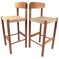 Pair of Modern Teak and Paper Cord Bar Stools