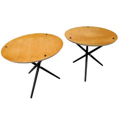 Pair of Modern Tripod Side Tables by Hans Bellmann