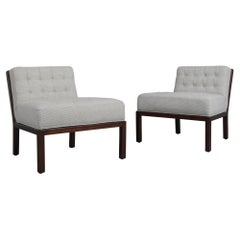 Pair of Mid Century Modern Tufted Lounge Chairs
