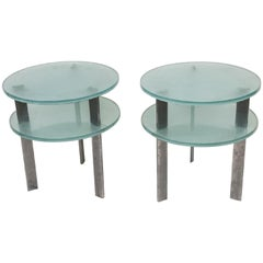 Pair of Modern Two-Tier Glass Side Tables