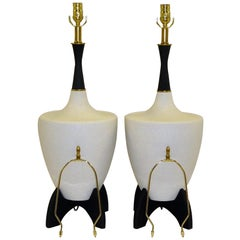 Pair of Modern Urn Shape Ceramic Table Lamps with Black Wood Stand and Neck