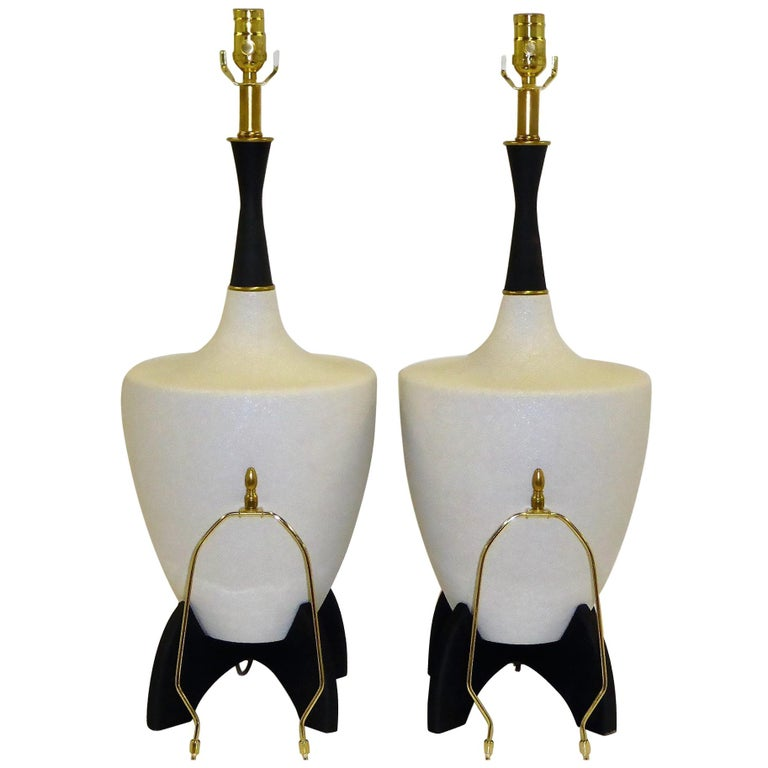 Pair of Modern Urn Shape Ceramic Table Lamps with Black Wood Stand and Neck For Sale
