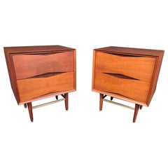Pair of Modern Walnut and Brass Nightstands