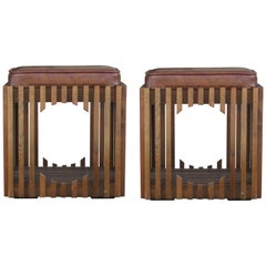 Pair of Modern Walnut Brutalist Ottomans or Poufs in the Style of Paul Evans