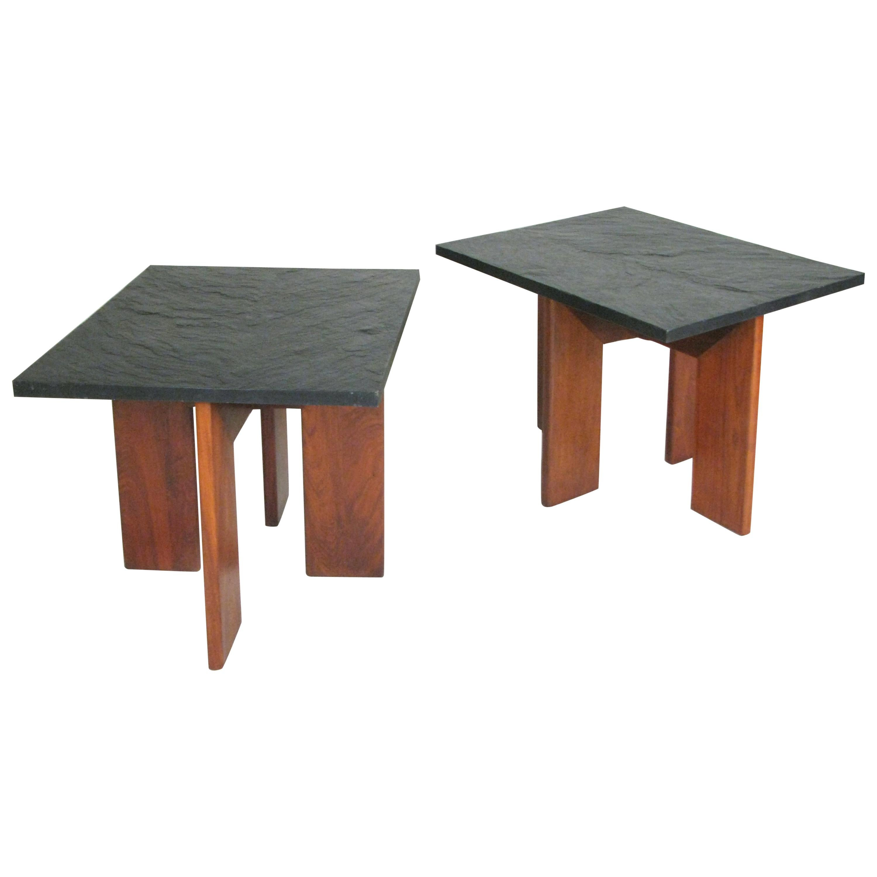 Pair of Modern Walnut and Slate Tables by Adrian Pearsall for Craft Associates