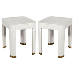 Pair of Modern White Linen Clad Side Tables