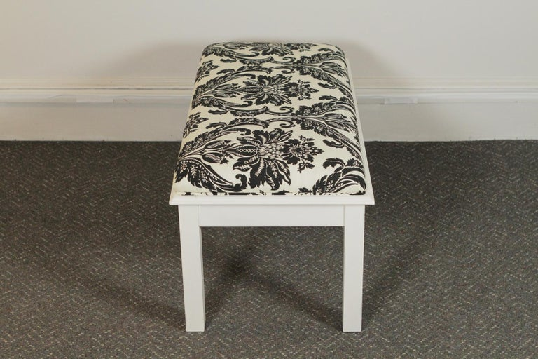 American Pair of Modern White Painted Wood Upholstered Benches For Sale