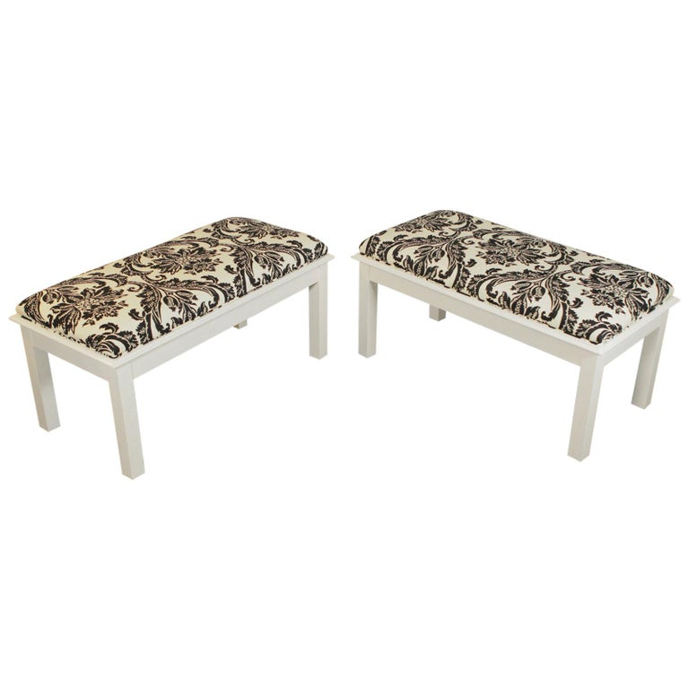 Pair of Modern White Painted Wood Upholstered Benches For Sale