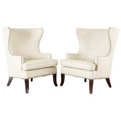 Pair of Modern White Wingback Lounge Chairs