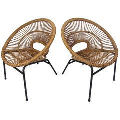 Pair of Modern Wicker Hoop Chairs