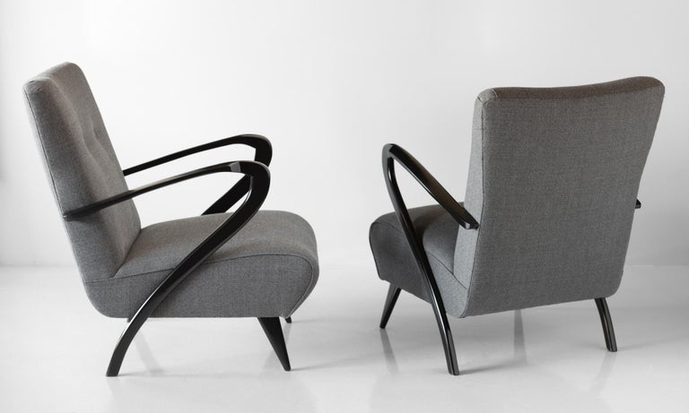 Mid-Century Modern Pair of Modern Wool Armchairs, Italy, circa 1960 For Sale