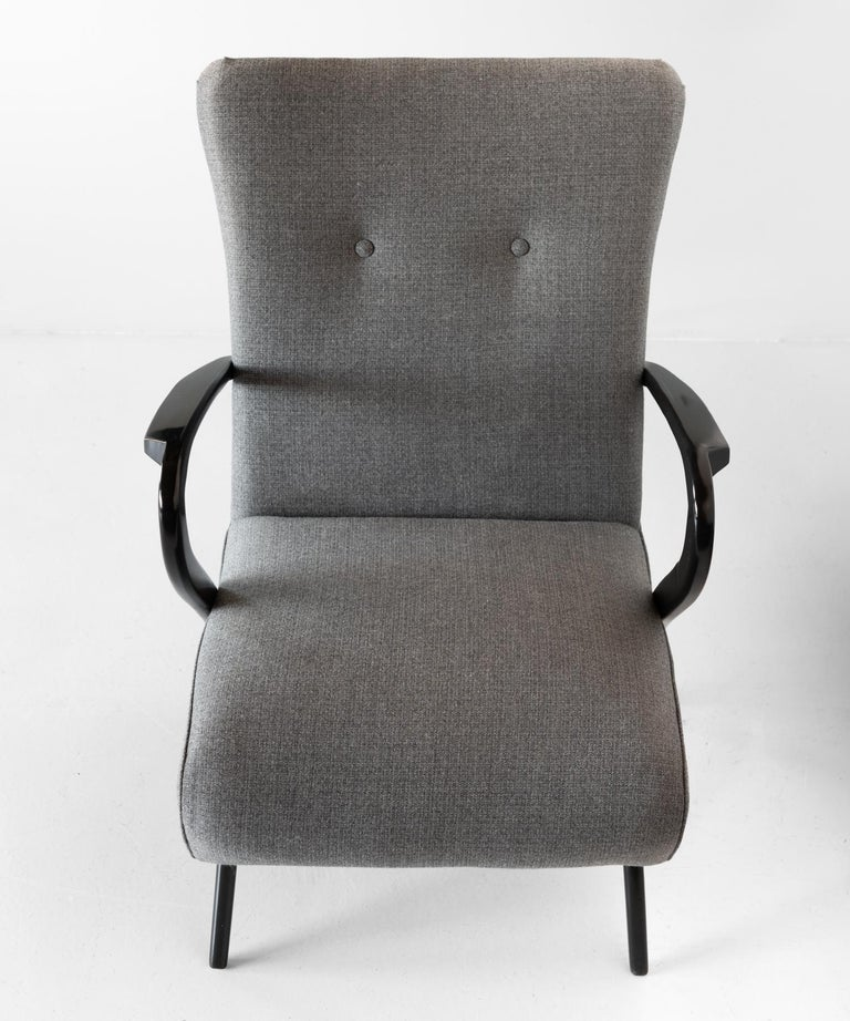 Ebonized Pair of Modern Wool Armchairs, Italy, circa 1960 For Sale