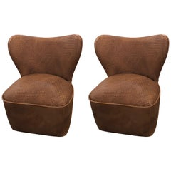 Pair of Modern Woven Brown Leather Seat and Backrest Side Chairs