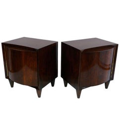 Pair of Modernage Bow Front Walnut End Tables