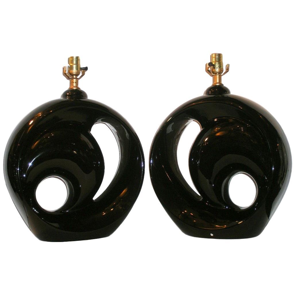 Pair of Moderne Black Lamps
