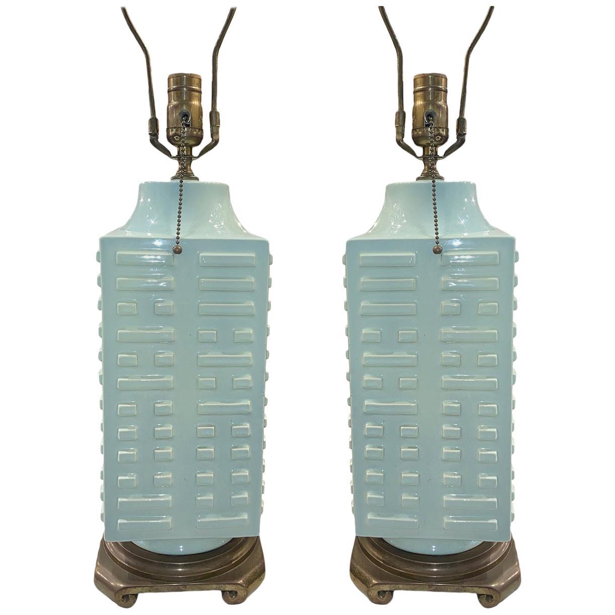 Pair of Moderne Celadon Porcelain Lamps