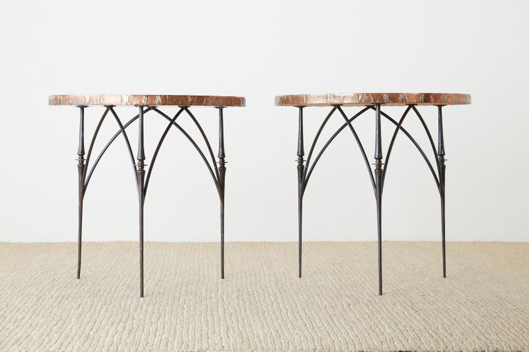 Brutalist Pair of Moderne Copper Top Centre or Dining Tables For Sale