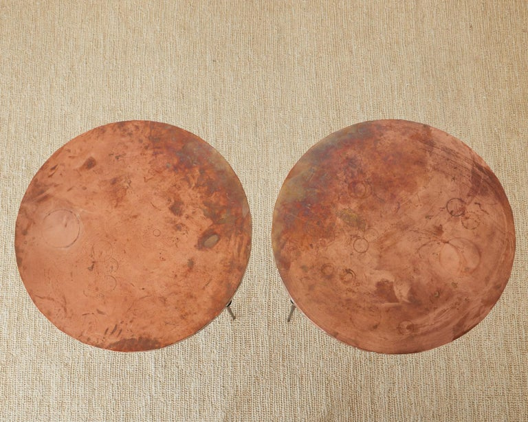 American Pair of Moderne Copper Top Centre or Dining Tables For Sale