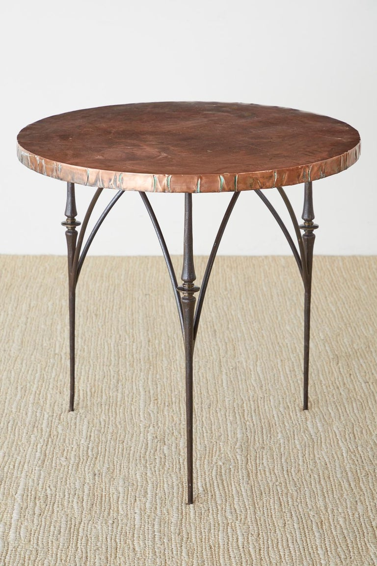 Hand-Crafted Pair of Moderne Copper Top Centre or Dining Tables For Sale