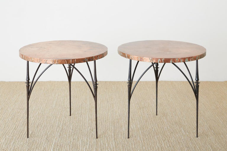 Pair of Moderne Copper Top Centre or Dining Tables In Good Condition For Sale In Oakland, CA